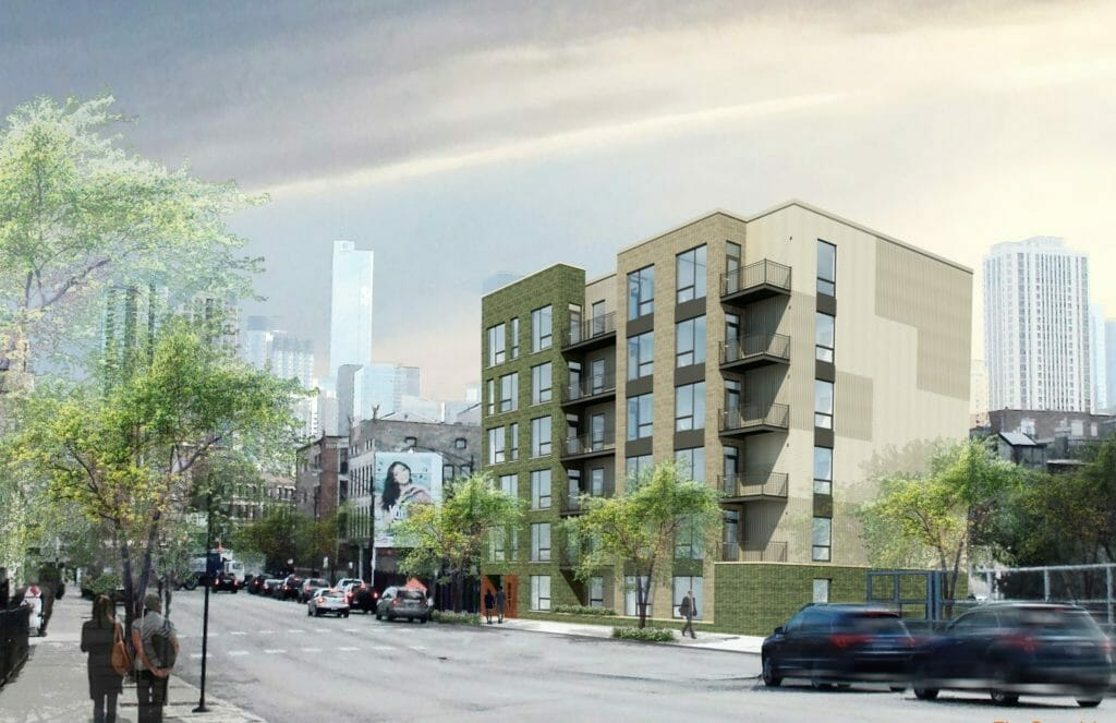 Preconstruction rendering of a 36 unit multifamily building at 851 W Grand Ave in Chicago Illinois